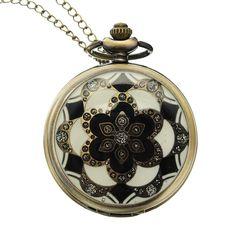 [US$4.99] DEFFRUN Luxury European Style Flower Pattern Chain Retro Pocket Watch #deffrun #luxury #european #style #flower #pattern #chain #retro #pocket #watch