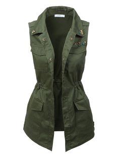 LE3NO Womens Miltary Anorak Sleeveless Jacket Vest with Pockets