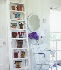 NOTICE HOW THESE SHELVES WERE MADE ON A LADDER--Painted Vintage Sand Pails
