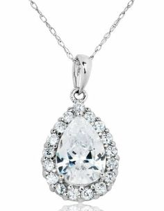 14k White Gold and 3.28 ctw Cubic Zirconia Debutante Pendant Joolwe. $229.99. Save 59%!