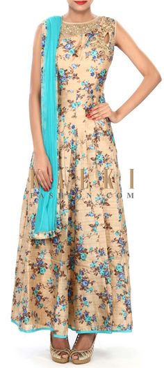 Buy Online from the link below. We ship worldwide (Free Shipping over US$100) Price- $139.00 Click Anywhere to Tag http://www.kalkifashion.com/beige-anarkali-suit-embellished-in-zari-and-mirror-embroidery-only-on-kalki.html
