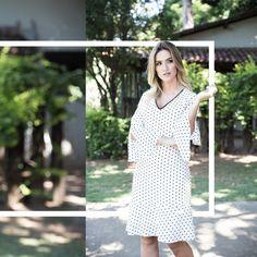 Vestido branco em poá, um charme...  .  #romariabh #lançamento #inverno17 #modamineira #modafeminina #casual #fashion #style #mundoromaria #seenowbuynow #womansfashion #womans #womanstyle