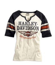 Harley-Davidson Womens Iconic Henley Tee