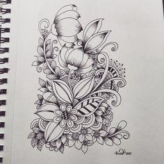 Drawing Doodles Ideas kc doodle art More - Zentangle Drawings, Doodles Zentangles, Doodle Drawings, Doodle Designs, Doodle Patterns, Zentangle Patterns, Tangle Art, Flower Doodles, Flower Doodle Art
