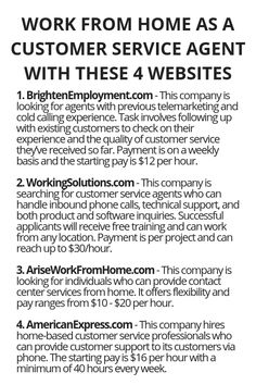 Work From Home As A Customer Service Agent With These 4 Websites - Customer Service - Ideas of Selling A Home Tips - Work From Home As A Customer Service Agent With These 4 Websites Wisdom Lives Here Earn Money From Home, Earn Money Online, Way To Make Money, Money Fast, Legit Work From Home, Work From Home Jobs, Work From Home Opportunities, Online Work, Money Management