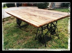 Re-Scape:BizScape Eric Miller Farmtastic Creations table from 100 yr old barn wood and vintage sewing machine