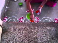 ▶ Simple Flower Border Rangoli Design-Border Rangoli Design By Nagu's Handwork - YouTube