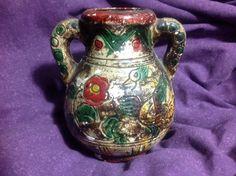 """Vintage Folk Art Floral Ceramic Vase Urn Handles Hand Made  Japan 4"""" Tall"""