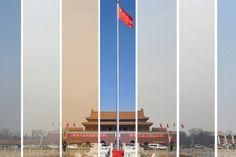 China en de gevolgen van het Grote-Smog-Mysterie | HP/De Tijd  Van links naar rechts: de luchtvervuiling op het Plein van de Hemelse Vrede tussen 6 en 15 maart 2013
