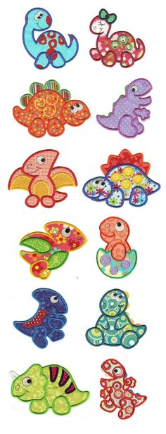 Dino Crossing Applique design set available for instant download at www.designsbyjuju.com