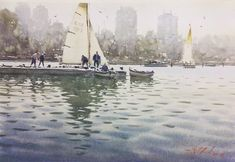 "Joseph Zbukvic on Instagram: ""Sorting out my photos... an older work of Albert Park Lake where the first race of Formula 1 was canceled this year,  just two weeks ago...…"" Watercolor Water, Watercolor Artists, Watercolor Landscape, Artist Painting, Landscape Paintings, Watercolor Paintings, Watercolours, Albert Park Lake, Joseph Zbukvic"
