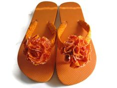 Tangerine Decorated Flip Flops by BitsysBaubles at Etsy.com