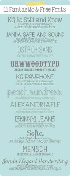11 Fantastic and Free Fonts ~    Downloads @:  http://alanandkatiesabin.blogspot.com/2012/11/11-fantastic-and-free-fonts.html