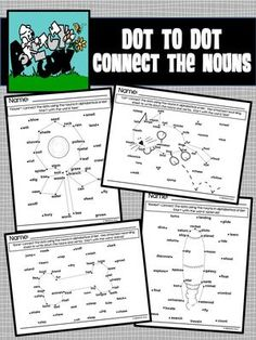 Dot to Dot / Connect the Nouns Nouns And Verbs, Dot Day, Cat Flowers, First Grade Reading, Connect The Dots, Task Boxes, Recording Sheets, English Lessons, Alphabet