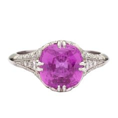 Pink Sapphire & Diamond Ring   1stdibs.com
