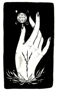 Algiz Protection Hand illustration, prints available // Lauren Gonsalves