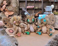 Sapling Mof - cuddly OOAK brown and green moth art doll