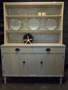 Refinished Hutch. Add these drawer pulls to our hutch