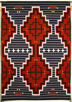 Revival Rug by Louise Singer (Navajo) Native American Rugs, Native American Design, American Indian Art, American Indians, Southwestern Quilts, Southwest Art, Navajo Art, Navajo Rugs, Navajo Tattoo
