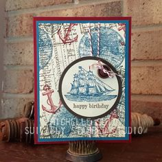 """A masculine birthday card is easy peasy with the """"Open Sea"""" stamp set from Stampin' Up!   Michelle Suit Suitably Stamped Studio http://suitablystamped.com"""
