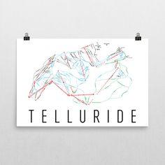 Telluride Ski Map Art, Telluride CO, Telluride Trail Map, Telluride Ski Resort Print, Telluride Poster, Telluride Mountain, Art, Gift