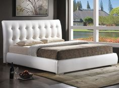 Wholesale Interiors Baxton Studio Jeslyn White Modern Bed with Tufted Headboard - Queen Size Full Size Platform Bed, King Platform Bed, Modern Platform Bed, Upholstered Platform Bed, White Tufted Headboards, Tufted Headboard Queen, Bed Frame And Headboard, Tufted Bed, Bed Frames