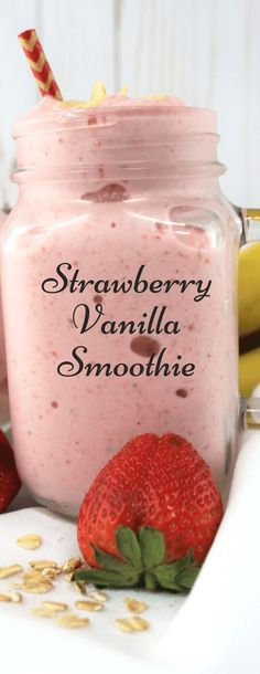 Stawberry Vanilla Smoothie - Drinks, Cocktails, Smoothies & Co - Frozen Fruit Recipes Protein Smoothies, Smoothie Detox, Smoothie Bowl, Vanilla Smoothie, Apple Smoothies, Healthy Breakfast Smoothies, Smoothie Drinks, Breakfast Fruit, Strawberry Smoothies
