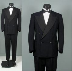 Vintage 1940 Mens Tuxedo Suit -- Black Wool & Faille 4 x 1 Double Breasted Peaked Lapel -- Bold Look Size 39/40