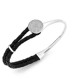 wrapped™ Diamond and Braided Black Leather Bracelet in Sterling Silver (1/4 ct. t.w.)