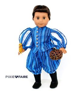Your dashing prince will look his best for any royal occasion in this Renaissance costume. Sewing Doll Clothes, Sewing Dolls, Ag Dolls, Doll Clothes Patterns, Pdf Sewing Patterns, Doll Patterns, Clothing Patterns, Boy Doll, Girl Dolls