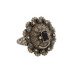 Alexander Mcqueen Jewelled Ring (€185) ❤ liked on Polyvore featuring jewelry, rings, 5408-208159, jewel rings, sterling silver engravable jewelry, gothic jewelry, goth jewelry and sterling silver gothic jewelry