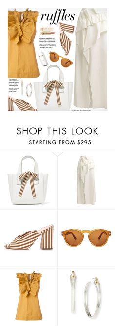 """""""What a Frill: Ruffles"""" by beebeely-look ❤ liked on Polyvore featuring Loeffler Randall, Delpozo, Tom Ford, Marni, Shinola, Too Faced Cosmetics, stripes, ruffles, stripesonstripes and spring2018"""