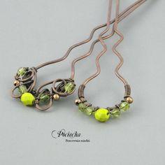 #Lime -#hairpins (by Pracownia miedzi - Pociecha), in #DecoBazaar.com