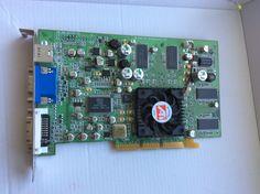 Näytönohjainkortti PC:n AGP-paikkaan. DVI-, VGA- ja videolähdöt. 5€:lla Pirkkalasta noudettuna.
