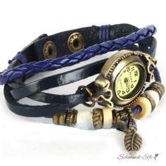Leder Armbanduhr  VINTAGE  blau  im Organza Beutel