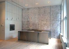 Slide Loft - New York Apartment Design, NYC Interior - e-architect Minimal Kitchen Design, Minimalist Kitchen, Interior Design Kitchen, Warehouse Kitchen, Loft Kitchen, Warehouse Plan, Converted Warehouse, Kitchen Industrial, Basic Kitchen