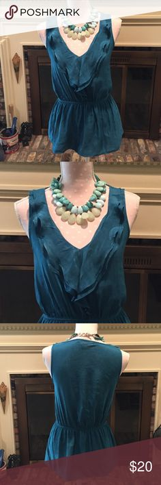 Express V-Neck Ruffle Front Top, XS Turquoise ruffle v-neck tunic top, excellent condition. Worn twice. 100% polyester. Size XS. Express Tops Tunics