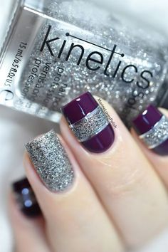 Color block nail art with Kinetics Gala The Big Party collection