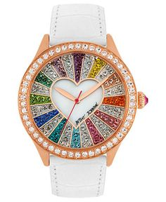 LUSTING! Betsey Johnson Watch, Women's White Leather Strap 42mm BJ00131-15 - All Watches - Jewelry & Watches - Macy's