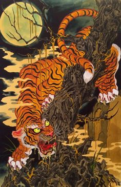 Tiger by Timothy Hoyer. ❣Julianne McPeters❣ no pin limits Japanese Art Prints, Japanese Drawings, Japanese Artwork, Tiger Illustration, Raijin Tattoo, Tiger Tattoodesign, Traditional Japanese Art, Tattoo Traditional, Traditional Tattoo Painting