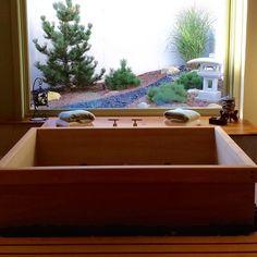 Custom Sized Ofuro Soaking Tub by Zen Bathworks (checkout to request a quote) Japanese Bathtub, Japanese Soaking Tubs, Deep Soaking Tub, Zen Bathroom, Tropical Bathroom, Master Bathroom, Bathroom Ideas, Bath Ideas, Kyoto