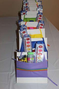 Kristin T's Birthday / Paint/Art - Mylee's Paint Party at Catch My Party Artist Birthday Party, Birthday Party Goodie Bags, Rainbow Birthday Party, 6th Birthday Parties, Birthday Ideas, Art Themed Party, Indoor Birthday, Cheap Party Decorations, Party Ideas