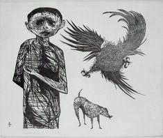 """Leonard Baskin, """"Frightened Boy and his Dog"""" woodcut"""