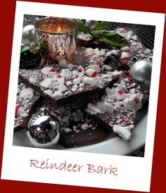 Reindeer Bark- real chocolate (cacao) and all-natural peppermint candies. Give as a gift for the Thanksgiving or Christmas or eat it yourself guilt-free!