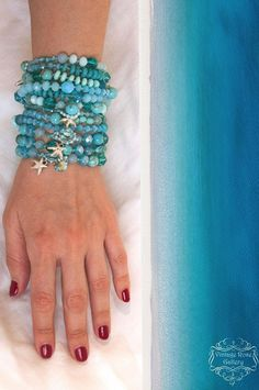 Turquoise BOHO CHIC Necklace and Bracelet, Aqua Beaded Necklace with Gemstones and Glass, Myrtos Beach Necklace This is one of my favourite pieces : Myrtos Beach Necklace and Bracelet ...!!!! Inspired by the amazing colours of one my favourite beaches at Kefalonia Island : #glassbeadednecklace