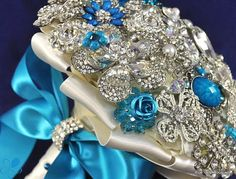 Turquoise Crystal Brooch Bouquet - by Blue Petyl - SMALL. $325.00, via Etsy.