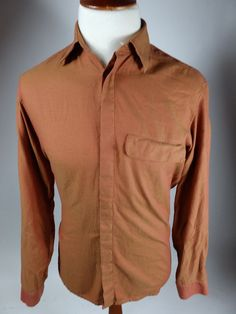 Hugo Boss Long Sleeve Button Front Red Orange Shirt Offset Harlequin Men Medium #HUGOBOSS #ButtonFront