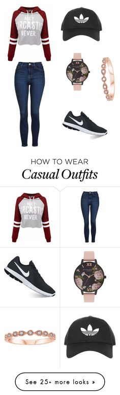 """""""Casual/comfy ootd"""" by fashion2409 on Polyvore featuring Topshop, WithChic, NIKE and Olivia Burton"""