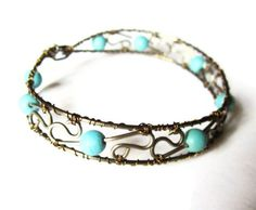 Turquoise Jewelry  Wire Wrapped Bangle  by DistortedEarth on Etsy, $35.00