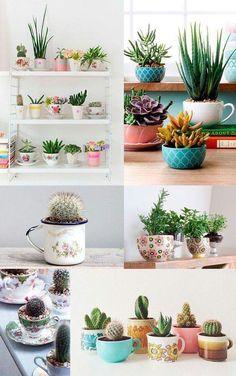 Декор для дома своими руками - оригинальные горшки для цветов из кружек. #декор #своимируками #хендмейд